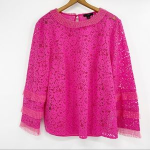 J. Crew lace long sleeve top with tulle ruffle L